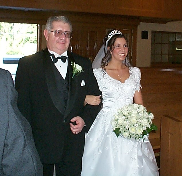 Bride and her Dad coming down the aisle; Actual size=180 pixels wide